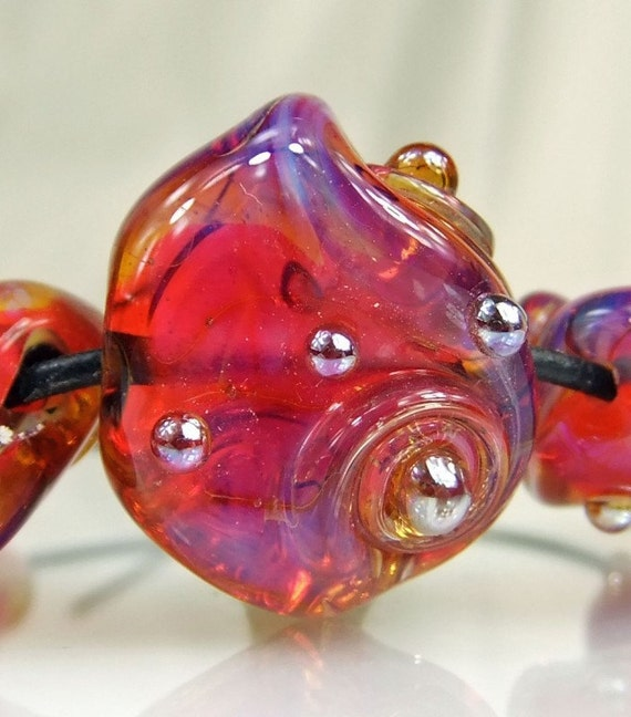 Bright Pink, Blue, Purple Glass Lampwork Bead Set