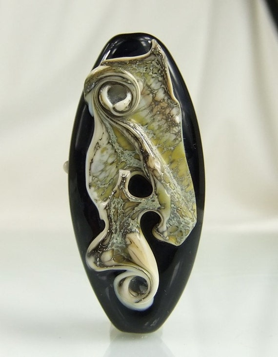 Black and Silvered Ivory Lampwork Focal Bead