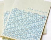 A big wave of LOVE. Hand printed greeting card. - Champignons