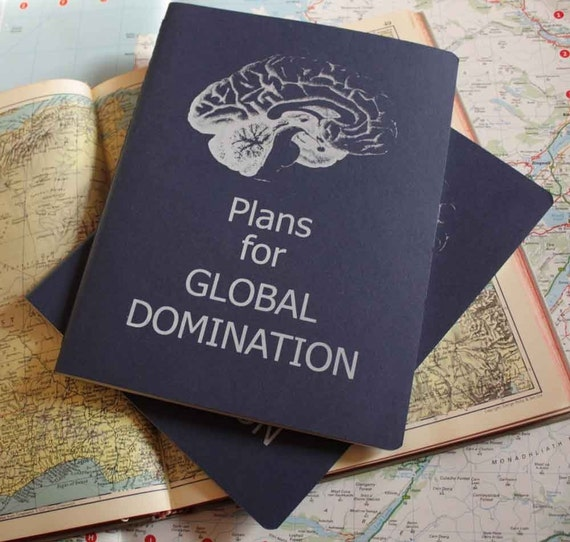 Plans for global domination BLUE screen printed moleskine cahier