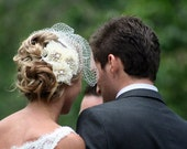 RESERVED for mmm303 - vintage lace and brooch hair pieces - featured on Style Me Pretty wedding blog