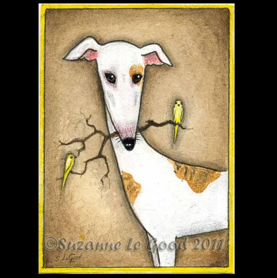 Original GREYHOUND DOG and CANARY aceo painting by Suzanne Le Good