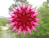 16 Point Pink Star with 8 Sided Pink Star in the Center Suncatcher