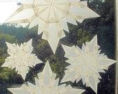 4 White 5-Pointed Waldorf Inspired Window Stars (Set of 4 Stars)