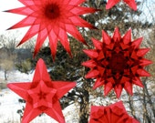 6 Fiery Red Window Star Suncatchers