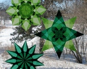 3 Green Window Star Suncatchers
