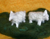 2 Hand-Embroidered Wool Felt Sheep