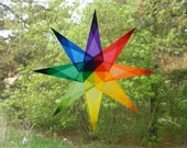 Waldorf Inspired Rainbow Window Star with 8 Sharp Points