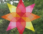 Window Star with Double Squares in Red Pink Orange and Yellow
