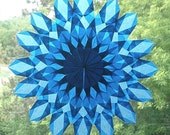Blue Waldorf-Inspired Sunburst Suncatcher with 16 Points