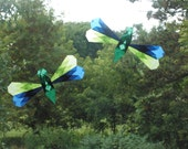 Green and Blue Dragonflies Window Decoration - Waldorf Sun Catcher Similar to Translucent Star - Made by Harvest Moon by Hand