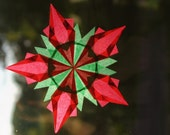 Christmas Window Star - Red and Green 5-Pointed Waldorf Inspired Star - Intricately Folded - Paper Folded - Birthday Anniversary or Wedding Gift - Winter Holiday or Christmas Home Decoration - Inspiring Art for Waldorf Montessori and Homeschool Classrooms