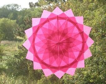 Pink 16 Point Waldorf Window Star