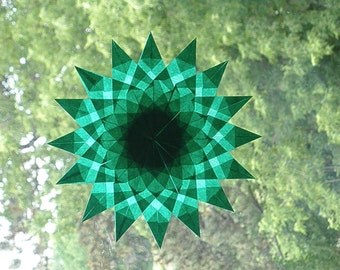 Green Waldorf Inspired Mandala Window Star with 16 Points