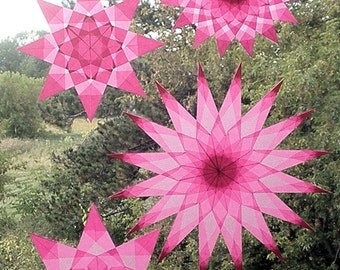 4 Pink Window Stars (National Breast Cancer Awareness Month Suncatchers)