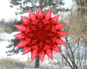 Fiery Red Waldorf-Inspired Window Star Suncatcher