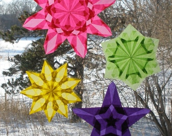 4 Intricately Folded Window Star Suncatchers
