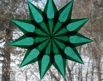 11 Point Green Window Star Suncatcher