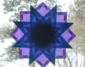 Blue and Purple Waldorf Inspired Window Star Suncatcher