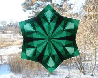 Green Waldorf Window Star with 6 Diamond Points