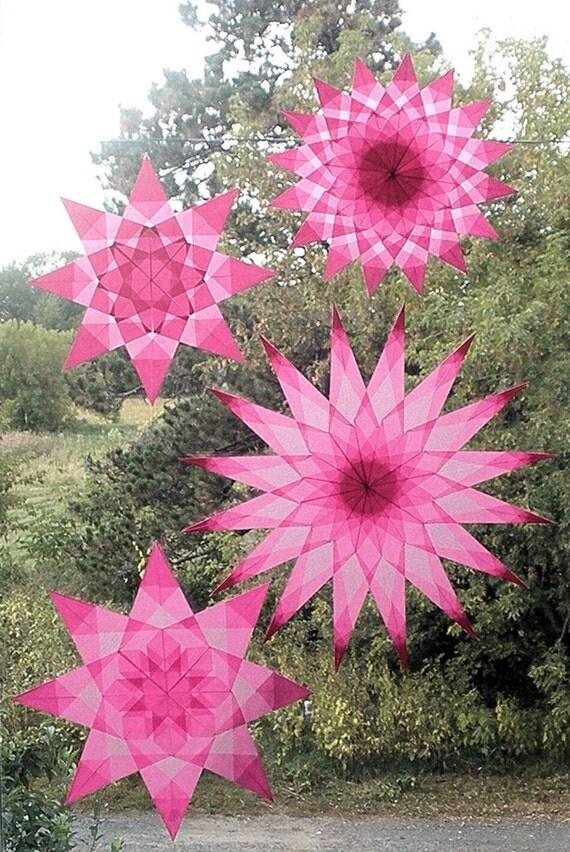 4 Pink Window Stars (National Breast Cancer Awareness Month Suncatchers)