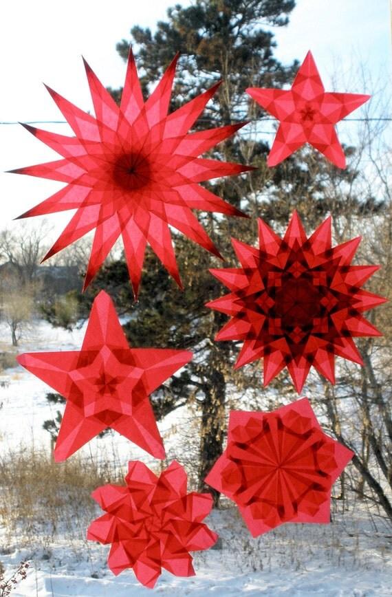 6 Fiery Red Window Star Suncatchers