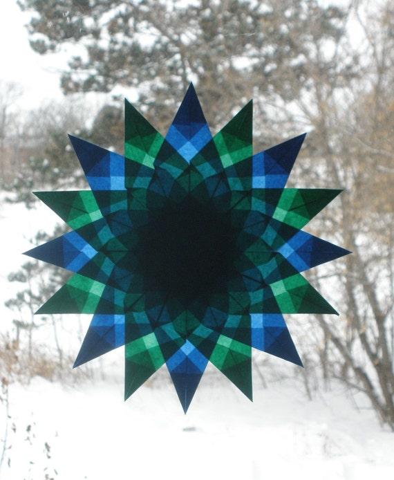 Blue and Green Mandala Waldorf Window Star Suncatcher