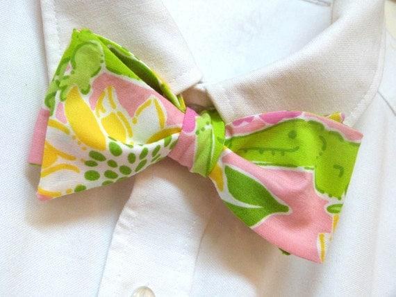 Mens Lilly Pulitzer Bow Tie Handmade Croc Monsieur