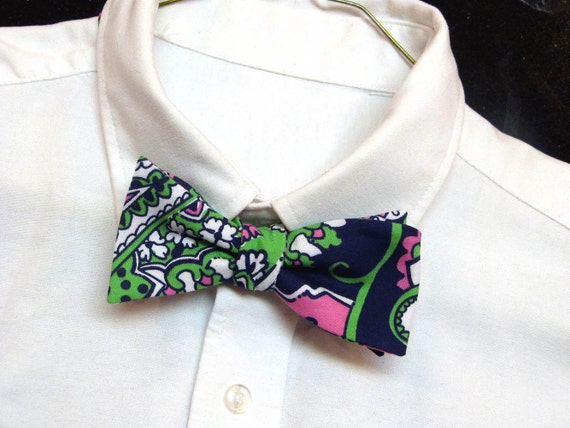 Mens Lilly Pulitzer Bow Tie Handmade in Royal Poinciana