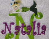 BATH TOWEL Mermaid Stacked Name  Personalized FREE