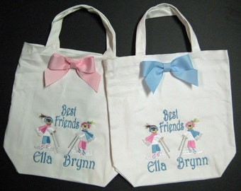 CANVAS TOTE  BFF Best Friends Forever Winter Skiing Personalized  free