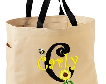 FUN TOTE Sunflower and Bumble Bee Personalized FREE