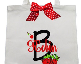 CANVAS TOTE Cherries Personalized FREE