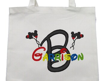 CANVAS TOTE Mouse Balloons Stacked Name Personalized FREE