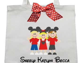 CANVAS TOTE 3 Girls With Mouse Ears  Personalized FREE