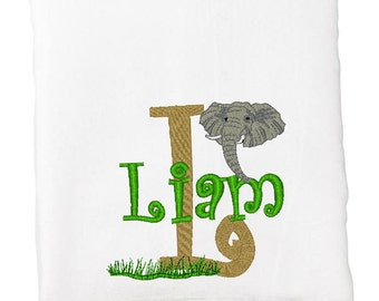 BATH TOWEL Elephant and Grass Personalized FREE