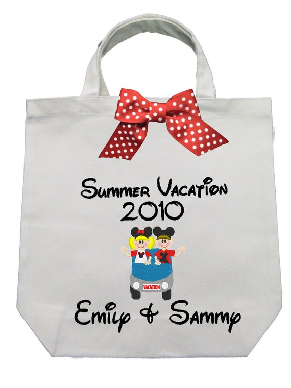 CANVAS TOTE Summer Vacation Boy and Girl Blue Car   Personalized FREE