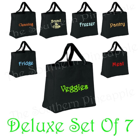 FUN TOTE Eco Friendly Embroidered Reusable Grocery Bags DELUXE set Of 7