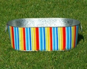 Infant Photo Prop Galvanized Tub Large Oblong Multi Primary Stripe