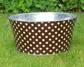 Galvanized Tub Chocolate Brown and Cream Polka Dot Large Round Party Bucket