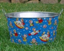 Childrens Photo Prop Large Round Galvanized Party Tub Retro Rocket Rascals