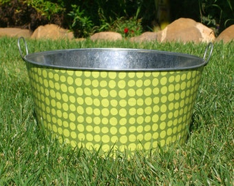 Galvanized Party Tub Large Round Olive Sun Spots