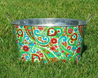 Galvanized Tub Medium Oval Storage Tub Red Libby
