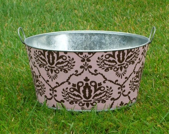 Drink and Beverage Tub Large Round Galvanized Party Tub Pink and Chocolate Leanika Damask