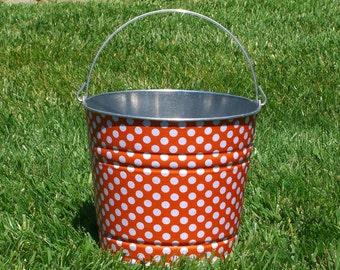 Tangerine Ta Dot Galvanized Beach Bucket