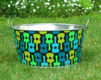 Large Round Galvanized Party Tub Retro Lime Groovy Guitars