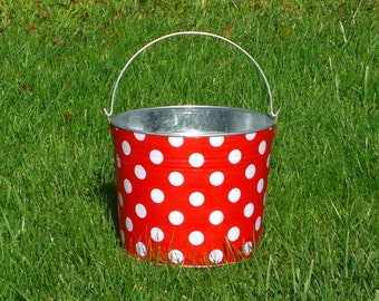 Metal Pail Galvanized Bin Red and White Quarter Dot
