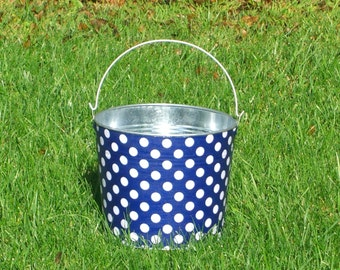 Beach Pail Galvanized Metal Anchor Blue and White Polka Dot