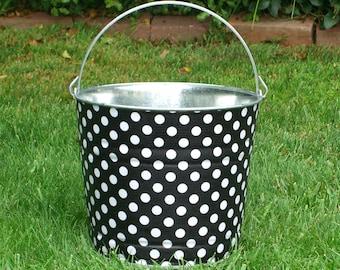 Galvanized Bucket Fabric Decoupage Black and White Polka Dot