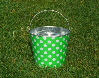 Metal Galvanized Pail Fabric Covered Apple and White Polka Dots